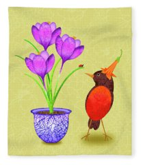 Hello Spring Fleece Blanket