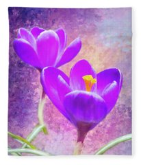Our First Crocuses This Spring Fleece Blanket