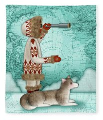 E Is For Eskimo And Explorer Fleece Blanket