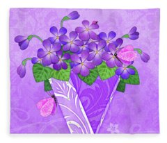 V Is For Violets Fleece Blanket