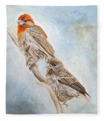 House Finch Couple Fleece Blanket