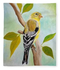 Pretty American Goldfinch Fleece Blanket