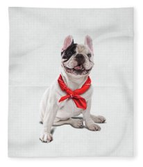 Frenchie Wordless Fleece Blanket