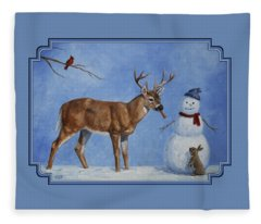 Whitetail Deer And Snowman - Whose Carrot? Fleece Blanket