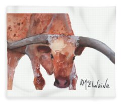 On The Level Texas Longhorn Watercolor Painting By Kmcelwaine Fleece Blanket
