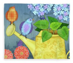 Two Birds On A Watering Can Fleece Blanket
