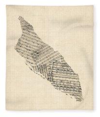 Aruba Old Sheet Music Map Fleece Blanket