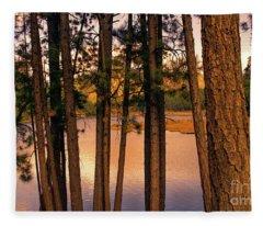 Evening On The Lake Fleece Blanket