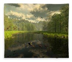As The River Flows Fleece Blanket