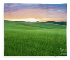 As The Sun Goes Down In Tuscany Fleece Blanket