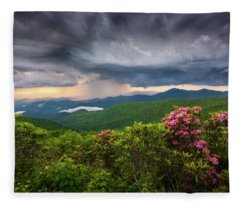 Asheville North Carolina Blue Ridge Parkway Thunderstorm Scenic Mountains Landscape Photography Fleece Blanket