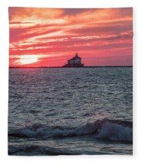 Ashtabula Ohio Lighthouse At Sunset  Fleece Blanket