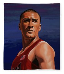 Ashton Eaton Painting Fleece Blanket