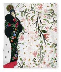 Asian Art Deco Beauty Fleece Blanket