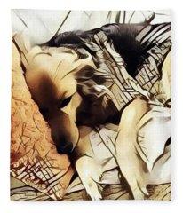 Asleep On The Sofa Fleece Blanket