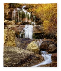 Aspen-lined Waterfalls Fleece Blanket