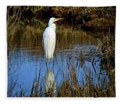 Assateague Island Great Egret Ardea Alba Fleece Blanket