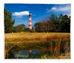 Assateague Lighthouse Reflection Fleece Blanket
