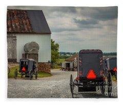 Assorted Amish Buggies At Barn Fleece Blanket