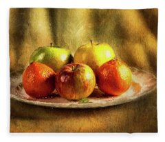 Assorted Fruits In A Plate Fleece Blanket