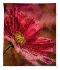 Aster Red Painterly #h1 Fleece Blanket