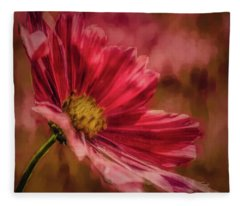 Aster Red Painterly #h1 Fleece Blanket
