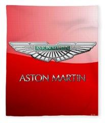 Aston Martin - 3 D Badge On Red Fleece Blanket