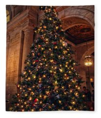 Astor Hall Christmas Fleece Blanket