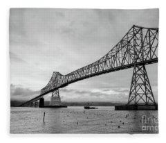Astoria Bridge At Dusk Fleece Blanket