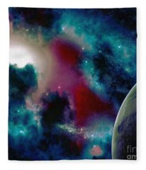 Astronomy Painting Glammed Out Teal Fleece Blanket