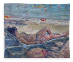 At Dilesi Beach Athens Fleece Blanket