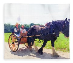 Horse And Buggy At Mount Vernon Fleece Blanket