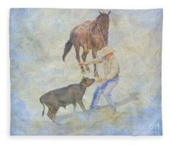 At The Rodeo Calf Roping Fleece Blanket