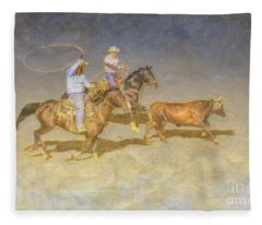 At The Rodeo Team Calf Roping Fleece Blanket
