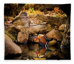 At The Waters Edge - Mandarin Ducks Fleece Blanket