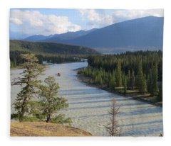 Athabasca River - Jasper Fleece Blanket