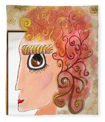 Athena In The Mirror Fleece Blanket
