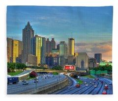 Atlanta Coca-cola Sunset Reflections Art Fleece Blanket