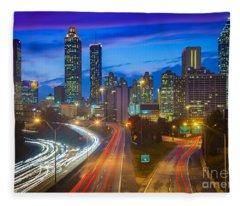Atlanta Downtown By Night Fleece Blanket