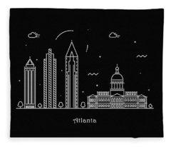 Atlanta Skyline Travel Poster Fleece Blanket