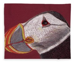 Atlantic Puffin Profile Fleece Blanket