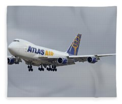 Atlas Air Boeing 747-47uf N415mc Phoenix Sky Harbor December 23 2015  Fleece Blanket