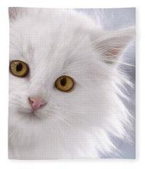 Attention - White Kitten With Golden Eyes Fleece Blanket