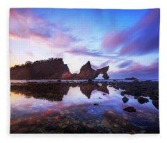 Atuh Beach Dawn Break Scene Fleece Blanket