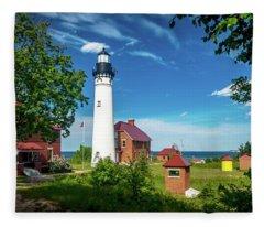 Au Sable Lighthouse  Fleece Blanket
