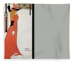 Aubrey Beardsley - Girl In Red Gown - Vintage Advertising Poster Fleece Blanket