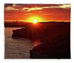 August Sunset From North Head Fleece Blanket