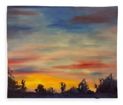 August Sunset In Sw Montana Fleece Blanket