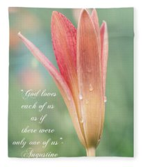 Augustine Quote God Loves Each Of Us With Opening Lily Fleece Blanket