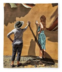 Aurora And The Mural Fleece Blanket